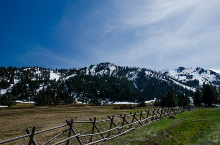 This place ie Squaw valley in California close Lake Tahoe  A lot of people come play ski and anow  photo