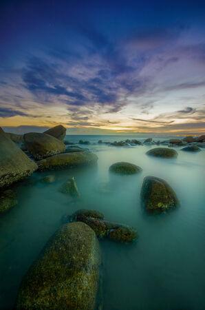 high dynamic range: beautiful Seascape in twilight time at Lan Hin Kaw, Rayong Thailand