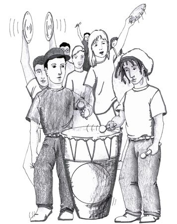 cymbals: Group of teenagers are seen dancing, playing music. Two young men with drumsticks beating one large drum. Other young men and women. One girl playing a tamborine. Young man playing cymbals.
