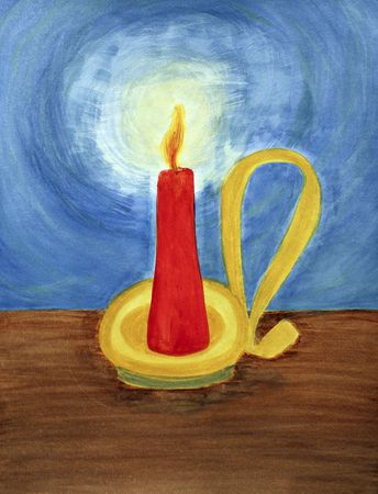 letting: In a yellow,  gold and brass colored candle holder with an old fashioned looking handle, a red candle burns brightly. It lights up the dark blue night with its flickering, orange yellow flame letting off a yellow, white brightness. The candle sits on a br