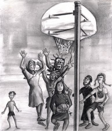 Diversity and faith based outdoor basketball game illustration. We see playing basketball a man wearing a rectangle tribal mask, a second tribe man, and a white nun type clothes missionary all have their hands in the air trying to block the shot. The shoo