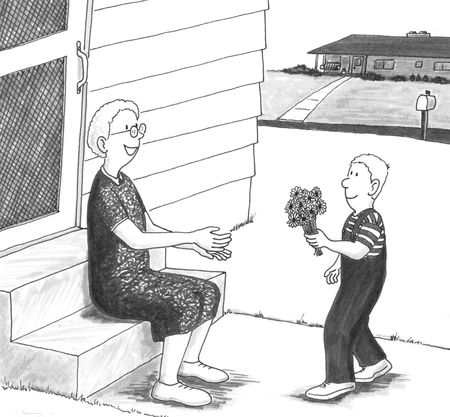 give: Young boy giving senior woman flowers in front of her home.