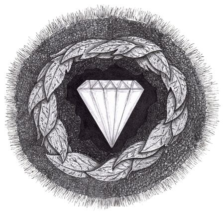 rough diamond: Diamond formed under pressure is shown with facets in the earth, surrounded by rock, leaves, dirt and grass.