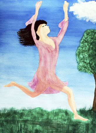 nightgown: A lady in a pink nightgown is shown leaping for joy while sprinting outdoors in the day with her arms and hands held high. Her black hair flows behind her. She is in a green field, under bright blue sky, with a brown bark and green leaf tree nearby. A sma Stock Photo