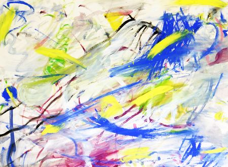 A beautiful and bright multicolored abstract hand painted art background. The colors of blue, yellow, green, gray, pink, red, purple, black, white cascade across the painting. The colors are strewn about the art. Dream like, random rough symbolism of grun