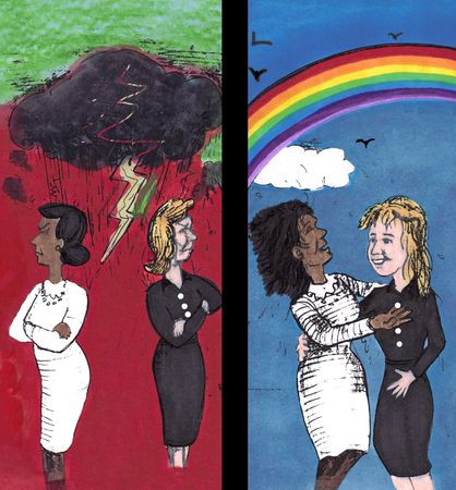 Two women stand near back to back with arms individually folded, yellow lightning from a dark black cloud, red background with green sky. On the right, the two women near embrace  happy smiling with each other face to face. Blue sky and rainbow, white clo