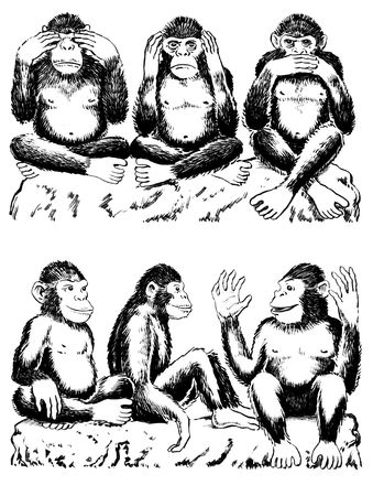 Black and white illustration of three monkeys acting out famous expression. See no evil, hear no evil, speak no evil. One monkey has his hands over his eyes, one over his ears, and another over his mouth. All sitting cross legged. Below are three monkeys  Stock Photo