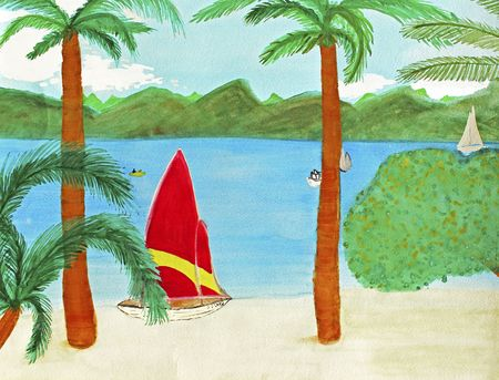 sway: A red and yellow striped sailboat is seen relaxing on a Virgin Island tan sand beach in this exotic location. Four other boats are seen on the Atlantic Ocean in the bright day light. Four palm trees sway. Green hills and mountains are seen in the distance