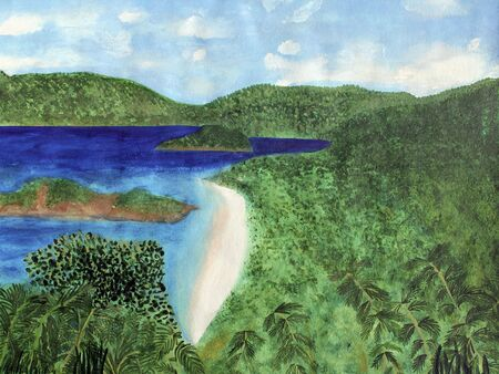 Watercolor art painting of a view of the beach from overlook on St. John in the US Virgin Islands. The tropical scene is very warm, with lots of lush tropical foliage and trees close in and further away. Other islands palm trees, brush, hills, mountains a photo
