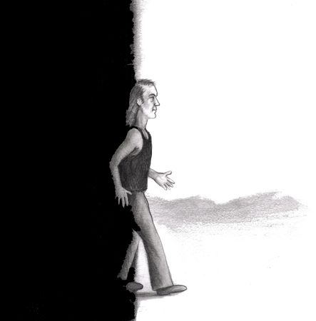 A middle aged man is seen walking from a dark black night scene on left side into the bright, white day of light in the right side of this black, white, and gray illustration. He is wearing jeans, a tank top, and closed shoes. illustration