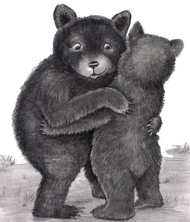 Two bears are standing up, with arms around each other, giving each other a bear hug outdoors in nature during the day. Black, white, gray original illustration.  Stock Photo