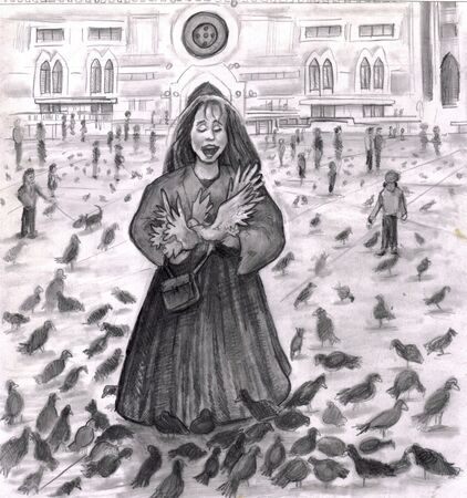 Pigeons surrounding a young lady in Italy outside. She is laughing with all the attention of the birds in this black, white, gray and slightly sepia illustration.  illustration