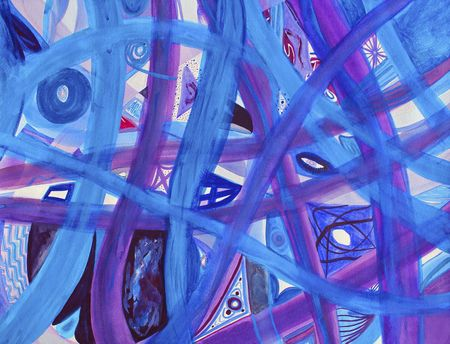 intertwine: Abstract blue, purple, red roads on white background. Many paths of blue and purple intertwine along with small areas of red on a background of white. Original watercolor art painting.