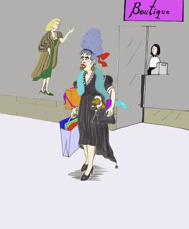 A fun and beautiful woman is seen with a smile exiting a boutique store after buying clothes on a shopping spree. She is seen  outside the new retail store, dressed in elegant clothes, holding various colorful shopping bags and her purse that has an old s