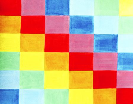 Colorful flag is made out of various colored rectangles positioned on the rectangle flag in a pattern. Colors are indigo, blue, green, yellow, orange, red, violet or purple. Watercolor painting.  photo