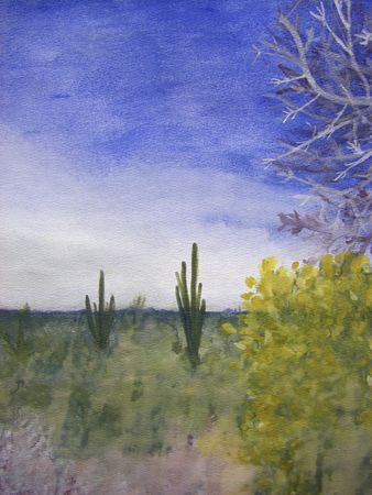 southwest: Natural, scenic, color landscape painting with lots of cacti, sagebrush, trees and other scenic plant life in a hot Arizona desert.