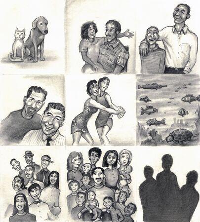 9 명의 가족 및 친구 패널. 개, 고양이. 딸, 계부모. 아들 아빠. 두. 두 명의 레즈비언 춤. 물고기, 바다 생명. 라틴 가정. 혼합 된 인종 가족. 3 실루엣입니