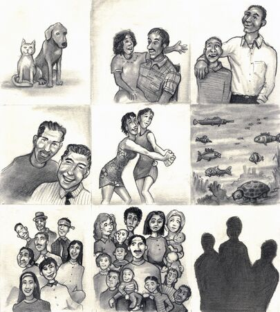mixed race: Nine panels of families and friends. Dog, cat. Daughter, step-father. Son, Dad. Couple. Two lesbians dancing. Fish, sea life. Latin family. Mixed race families. Three silhouette. Stock Photo