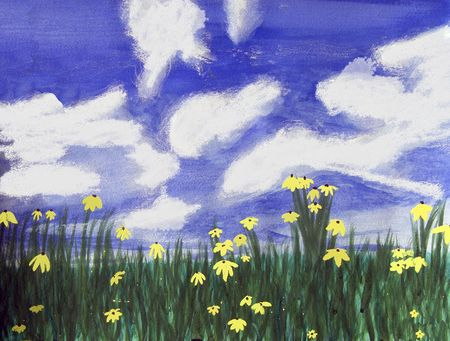 Yellow flowers in a field of green grass, bright blue sky with white clouds in Florida. Stock Photo - 7333703
