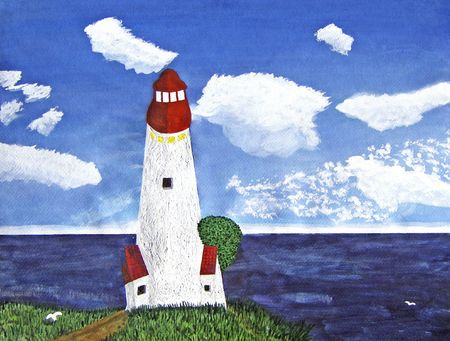 White and red lighthouse with green tree seen from inland, looking out into the ocean. Landscape is blue sky with white clouds, green grass with a dirt road. Two white birds are seen flying, one over land and one over the sea. Stock Photo