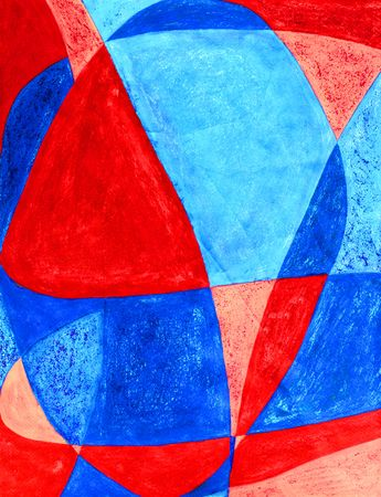 The word Love is written in abstract and painted with red and blue.