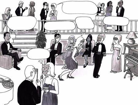 社交パーティーでエレガントなお部屋で洗練された大人の完全な部屋。思考バブル スペースはいくつかの彼らの頭の上です。