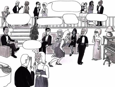 socializando: Habitación llena de sofisticados adultos en una habitación elegante en una fiesta de socialización. Espacios de burbuja de pensamiento están por encima de algunos de sus cabezas.