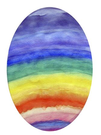 An oval egg is colored in a rainbow of colors. The colors red, orange, yellow, green, blue, indigo, and violet are painted onto the egg and the egg is isolated on a white background.
