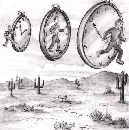 Three men in various relationships to time clocks in the sky of a desert. The first clock on the left shows a man in the past about to step into time. The middle time piece shows a man in the present face instead of the hour and minute hands. The clock on