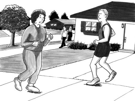 active content: Sweaty woman jogs past handsome man in family neighborhood content with effort. Stock Photo