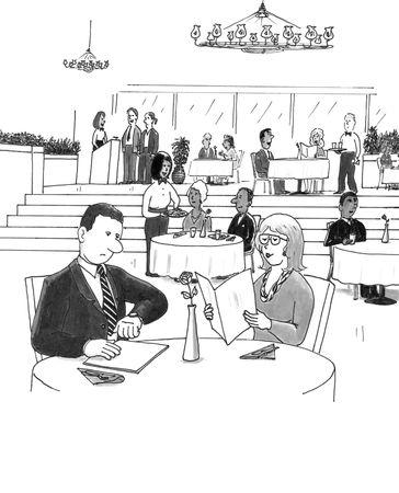 pareja comiendo: Un hombre mira su reloj como él se sienta en un restaurante ocupado con una mujer.