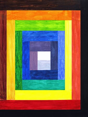 Various shades of color rectangle bars lead slowly towards the center in this painting.