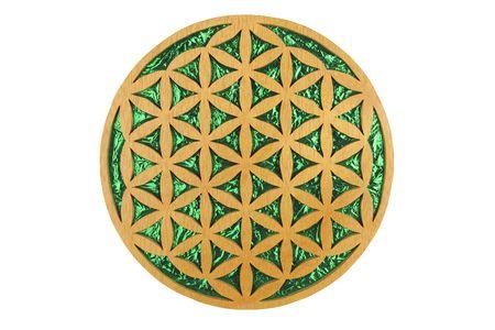 Fleur de bois et vert feuille de symbole sacré de la géométrie de la vie. Banque d'images