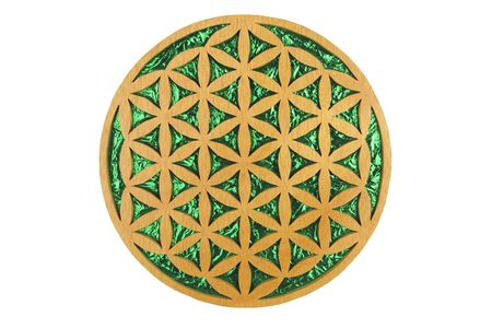 Wood and green foil flower of life sacred geometry symbol.