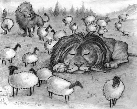 Illustration of two lions and many lambs at peace with one another in the same field.