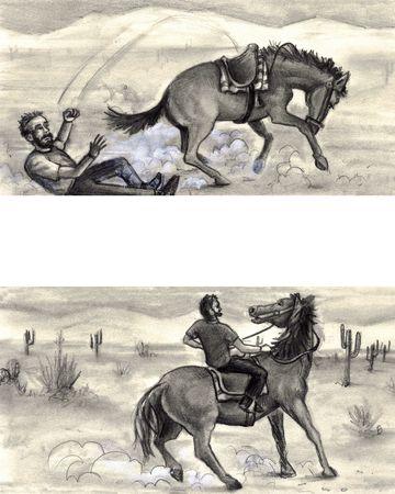 男は馬から投げられたサドルに戻るを取得し、成功への乗り物。 写真素材