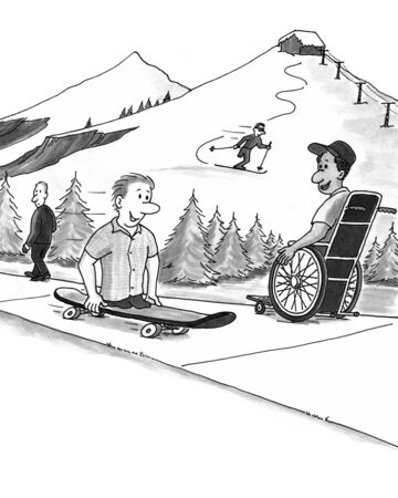 legged: Four people at a ski resort. One man walks, one uses a wheelchair, a legless man rides a skateboard, and a one legged woman is skiing. Stock Photo