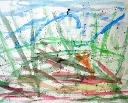 pachyderm: Colorful watercolor abstract that imitates the movements of a pachyderm painting with a brush in its trunk.