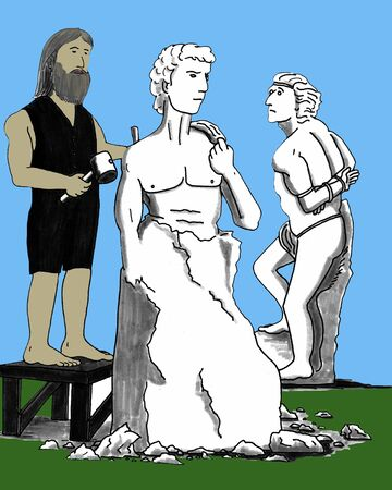 A man with a chisel and mallet carves out a male from a big block of marble. photo