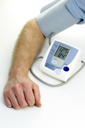high tech: Readings from a self checkup blood pressure machine are displayed digitally. Stock Photo