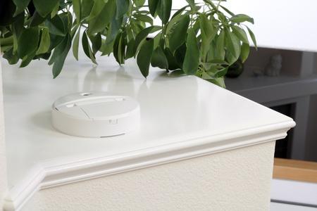 Carbon monoxide alarm on a home foyer shelf.