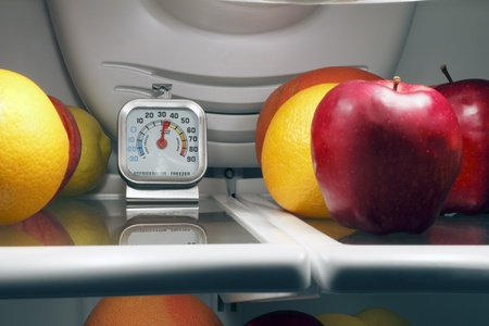 refrigerator with food: Refrigerator thermometer inside the top shelf of a cool food storage fridge to make sure perishables are kept safe and cold enough.