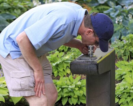 Adult male drinking from a water fountain in a public park near some shade loving plants.