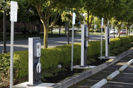 BEAVERTON, OREGON - MAY 25: A few electric vehicle charging stations located across from the city library on May 25, 2012 in Beaverton, Oregon.  Editorial