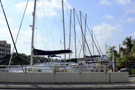 FORT LAUDERDALE, FLORIDA - OCTOBER 28: Boats and yachts in dock on the Middle River south of Sunrise Boulevard in the yachting capital of the world on October 28, 2012 in Fort Lauderdale, Florida.