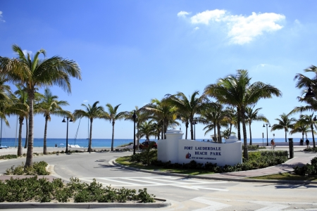 FORT LAUDERDALE, FLORIDA - NOVEMBER 1: Sign and entrance to the beautiful public Fort Lauderdale, Florida beach park on a very sunny autumn day on November 1, 2012 in Fort Lauderdale, Florida.