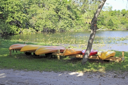 fort lauderdale: Rental kayaks in Hugh Taylor Birch State Park in Fort Lauderdale, Florida upside down on a wood rack near some water ready to be rented on a sunny autumn day.