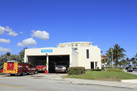 DEERFIELD BEACH, FLORIDA - FEBRUARY 1 This department of fire and rescue station was opened in 1981 across the street from the beach on February 1, 2013 in Deerfield Beach, Florida