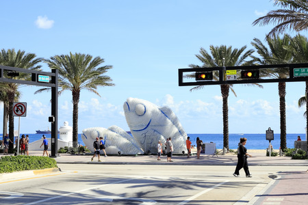 FORT LAUDERDALE, FLORIDA - FEBRUARY 3  Two large white and blue public fish sculptures made from plastic drinking water bottles near Las Olas on A1A on February 3, 2013 in Ft Lauderdale, Florida