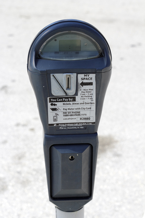ft lauderdale: FORT LAUDERDALE, FLORIDA - FEBRUARY 3  One gray metal outdoor urban public parking meter that you pay for parking by coins, city card or pay by phone on February 3, 2013 in Ft Lauderdale, Florida